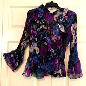 Purple Bloom Chiffon 3/4 Sleeve Top